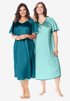 2-Pack Short Silky Gown , DEEP TEAL PALE OCEAN