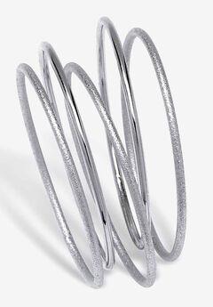 """Silvertone 5 Piece Bangle Bracelet Set, 9"""","""