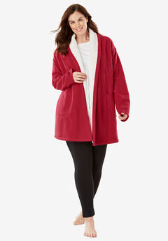 Sherpa-Lined Microfleece Bed Jacket ,
