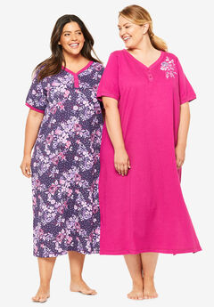 2-Pack Long Henley Sleepshirt By Dreams & Co.®, RICH VIOLET FLOWERS