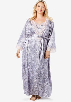 The Luxe Satin Long Peignoir Set by Amoureuse®,