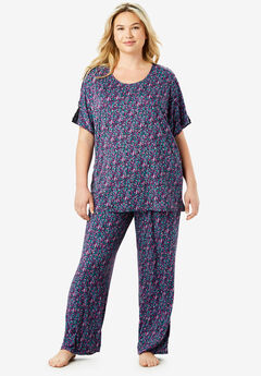 Touch of Lace Cold-Shoulder PJ Set by Dreams & Co.®, RICH VIOLET CONFETTI