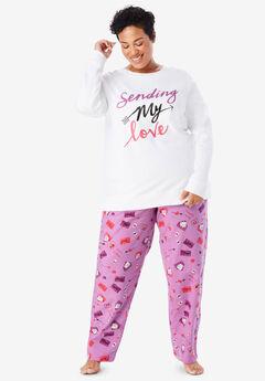 Fleece Sweatshirt & Pant Pajama Set by Dreams & Co.®, LIGHT ORCHID LETTERS