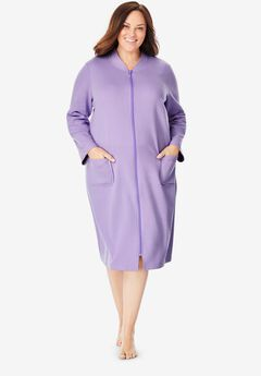 Quilted Zip-Front Robe by Dreams & Co.®, SOFT IRIS