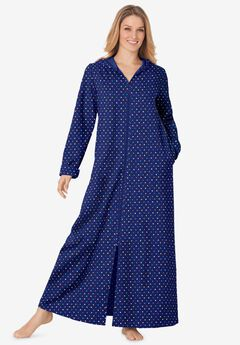 Hooded Fleece Robe , EVENING BLUE MULTI DOT