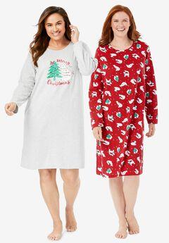 2-Pack Long-Sleeve Sleepshirts , CLASSIC RED CAT
