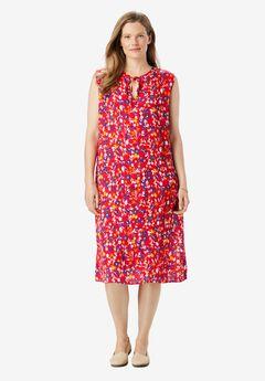 Tie-Neck Sleeveless Crinkle Dress,