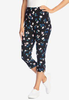 Stretch Cotton Printed Capri Legging, BLACK DELICATE FLOWER