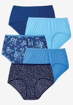 5-Pack Pure Cotton Full-Cut Brief , EVENING BLUE DOT PACK