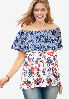 Off-The-Shoulder Ruffled Tee, EVENING BLUE FLORAL