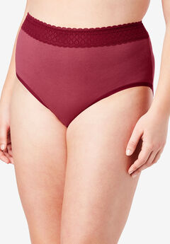 3-Pack Lace Waistband Full-Cut Brief ,