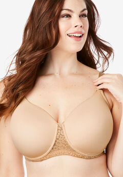 Full Coverage Lace-Trim Underwire T-Shirt Bra by Comfort Choice®, NUDE