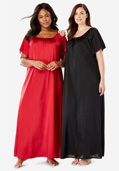 2-Pack Long Silky Gown by Only Necessities®, CLASSIC RED BLACK