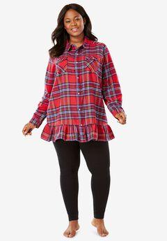 Flannel Peplum Pajama Set by Dreams & Co.®,