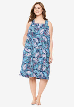Print Sleeveless Square Neck Lounger by Dreams & Co.®, LIGHT ORCHID PAISLEY