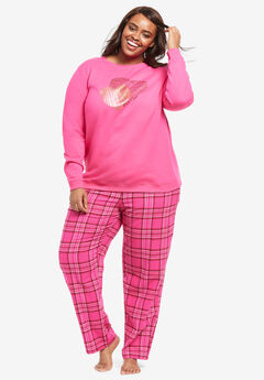 Fleece Sweatshirt Pajama Set by Dreams & Co.®, RASPBERRY SORBET HEARTS