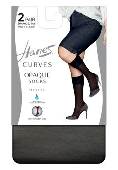 Hanes Curves Opaque Socks 2-Pack,