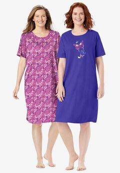 2-Pack Short-Sleeve Sleepshirt by Dreams & Co.®, PLUM BURST FLORAL BUTTERFLY