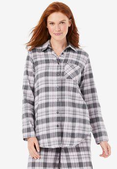 Flannel Snap-Front Pajama Shirt , SLATE PLAID