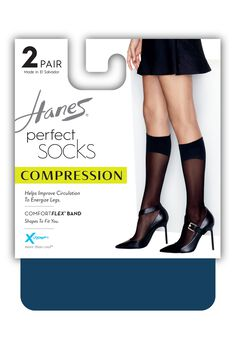 Hanes Perfect Diamond Compression Socks 2-Pack,