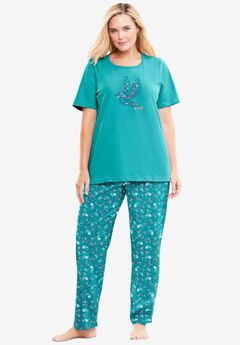Graphic Tee PJ Set by Dreams & Co®, WATERFALL PAISLEY FLORAL
