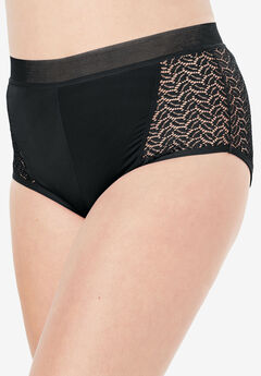 Microfiber Lace Sides Hipster Panty by Comfort Choice®, BLACK