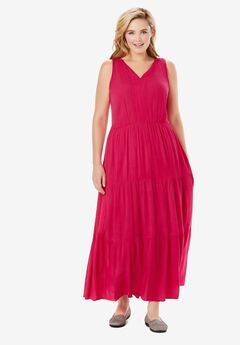 Sleeveless Tiered Crinkle Dress, CRYSTAL BERRY