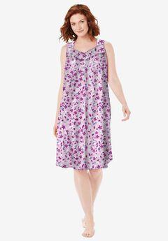 Pintuck Cooling Sleeveless Sleepshirt by Dreams & Co., PINK VINES