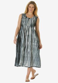 Sleeveless Pintuck Tie-Dye Dress, BLACK TIE DYE