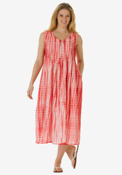 Sleeveless Pintuck Tie-Dye Dress, SWEET CORAL TIE DYE