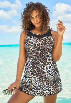 Mesh-Trim Swim Dress ,