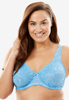 Embroidered Back-Closure Underwire Bra by Amoureuse®,