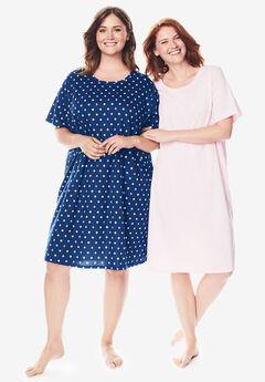 2-Pack Short-Sleeve Sleepshirt by Dreams & Co.®, EVENING BLUE MULTI DOT