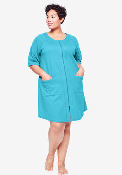 Short French Terry Zip-Front Robe by Dreams & Co.®, CARIBBEAN BLUE