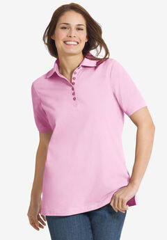 Perfect Short-Sleeve Polo Shirt, PINK