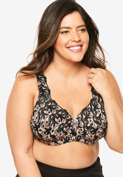 Embroidered Underwire Bra by Amoureuse®, LIGHT TAUPE BLACK
