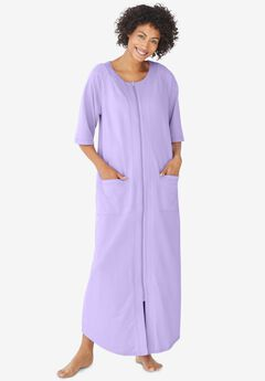 Long French Terry Zip-Front Robe , SOFT IRIS