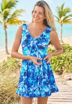 Faux-Wrap Swim Dress ,