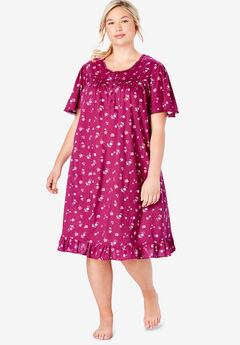 Short Floral Print Cotton Gown by Dreams & Co.®, POMEGRANATE FLOWERS