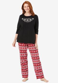 Long Sleeve Knit PJ Set , CLASSIC RED FAIR ISLE