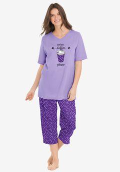 2-Piece Capri PJ Set by Dreams & Co.®, PLUM BURST DOT