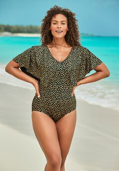 Flutter-Sleeve One-Piece ,