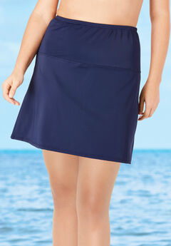 High-Waisted Swim Skirt with Built-In Brief ,