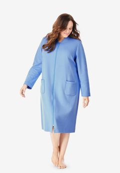 Quilted Zip-Front Robe by Dreams & Co.®, FRENCH BLUE