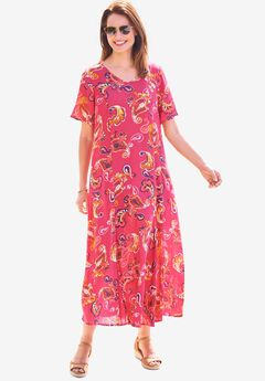 Crinkle Dress, CRYSTAL BERRY PAINTED PAISLEY