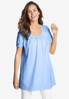Perfect Short-Sleeve Shirred U-Neck Tunic,