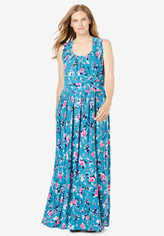 empire-waist Print maxi dress,