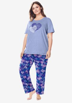 Graphic Tee PJ Set by Dreams & Co®, BLUE SAPPHIRE HEARTS