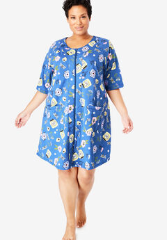 Short French Terry Zip-Front Robe by Dreams & Co.®,