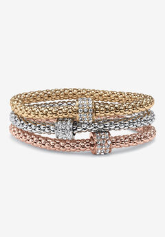3-Piece Tritone Stretch Bracelet (5.5mm), Round Crystal in Goldtone,